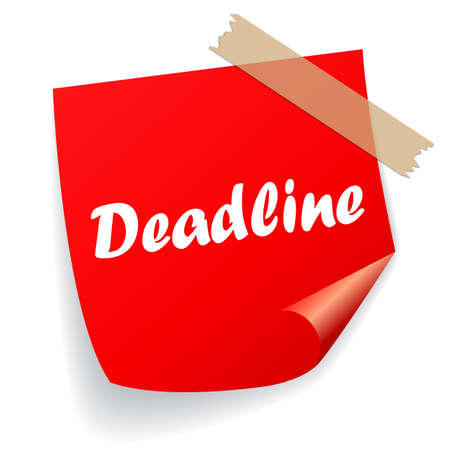 Deadline is coming reminder note paper, vector cartoon on white backgrounnd