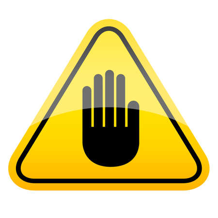 Stop hand yellow caution sign on white background