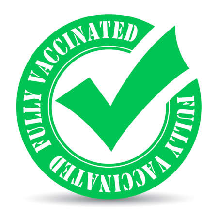 Fully vaccinated green emblem isolated on white background