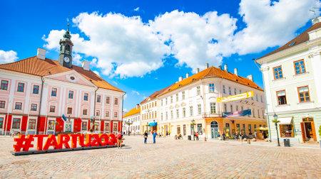 Tartu, Estonia - 1 July, 2021: Panorama of Town Hall Square