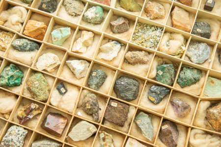 Vintage collection of minerals in cardboard box 스톡 콘텐츠