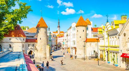 Tallinn, Estonia - 29 June, 2021: Viru Gate towers in Tallinn old town