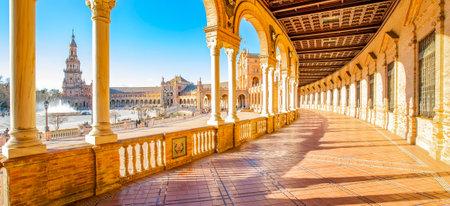 Panorama of Plaza de Espana (Spanish Square) in Seville, Spain