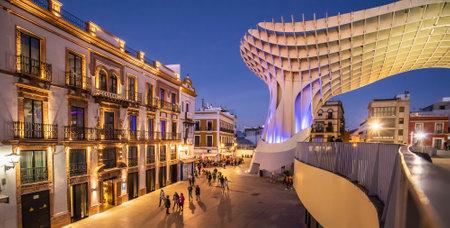 Sevilla, Spain – 14 March, 2021: Metropol Parasol or Seville Mushrooms night view, Spain
