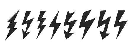High voltage lightning icons, thunder bolt symbol isolated on white background 일러스트
