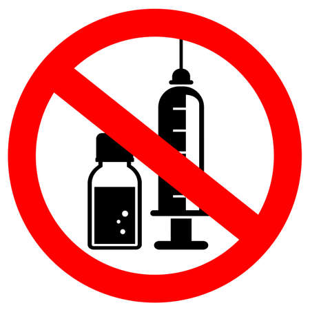No injection vector sign on white background