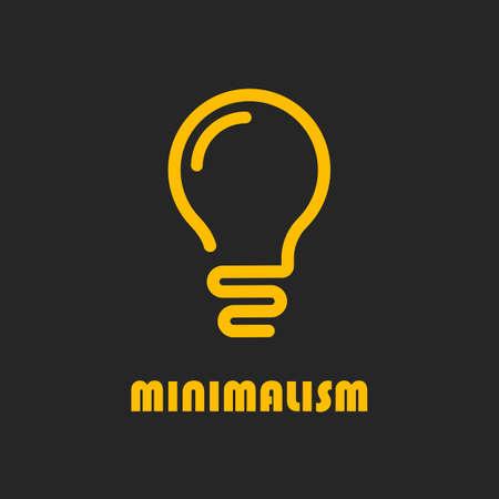 Light bulb minimal vector icon on black background