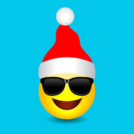 Santa emoji with red Christmas cap, vector cartoon