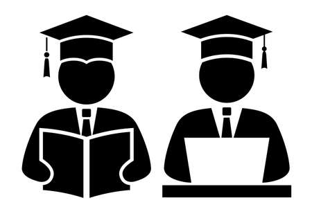 Student with book and computer vector icons on white background 일러스트