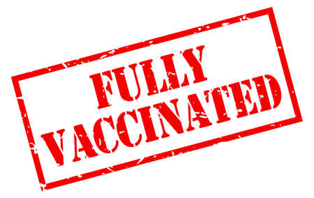 Fully vaccinated vector stamp isolated on white background