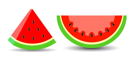 Watermelon piece vector icon isolated on white background