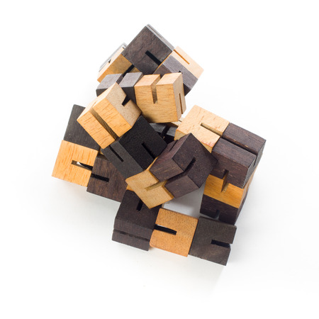 game block: wooden game block on white background