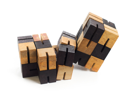 compatibility: wooden game block on white background