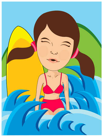 swiming girl Stock Vector - 10296601