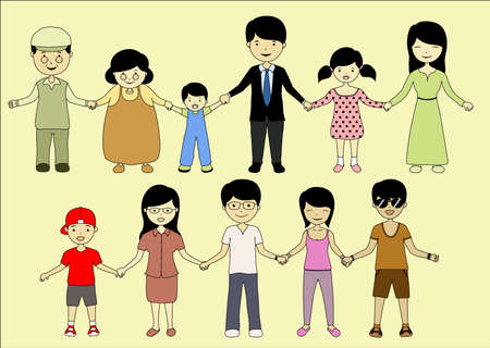 family members: gather together Illustration