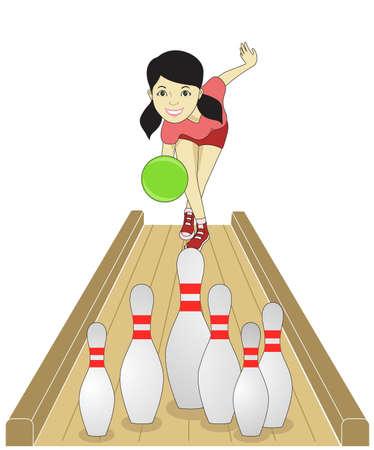 toss: bowling girl Illustration