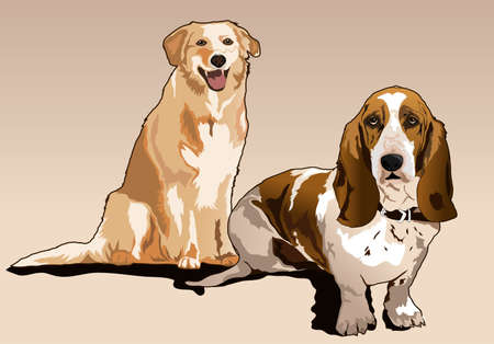 golden retriever puppy: dog playing and style together Illustration
