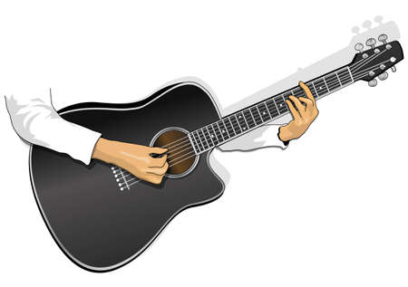 classical guitar: playing guitar Illustration