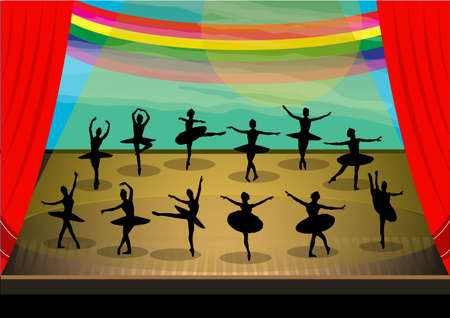 shadow ballet dancers on stage Stock Vector - 21510846