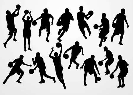playing basketball silhouette Stock Vector - 21510850
