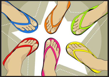 leg wear colorful sandals Stock Vector - 21510874