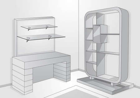 furniture store: a place to store item Illustration
