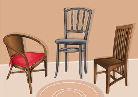 yard furniture: bench seats Illustration