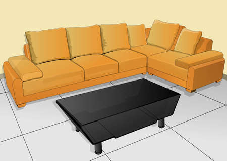 seats are plush sofas and tables Vector