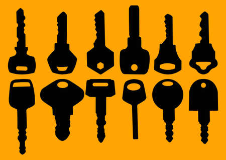 silhouettes of various key Vector