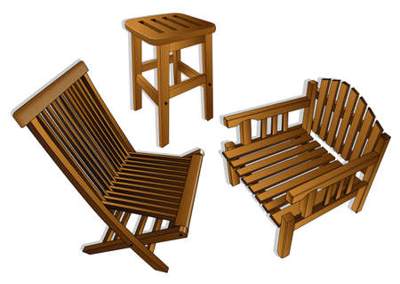 wooden chairs Vector