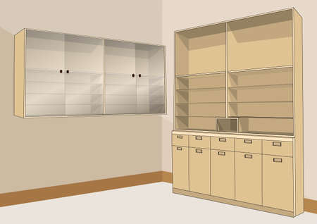 apartment suite: wooden cabinets for storage