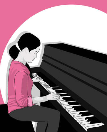 girl playing the piano Stock Vector - 21511749