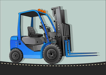 picking up: blue forklift