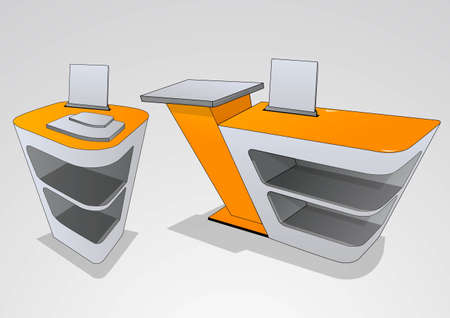 single shelf: a place to store the goods at the exhibition Illustration