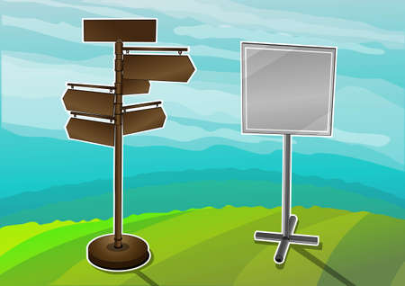 blank road sign: road directions  Illustration