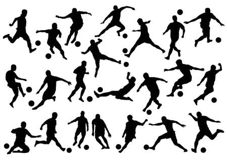 goal kick: soccer player silhouette Illustration