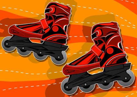 rollerblade: a pair of roller skates Illustration