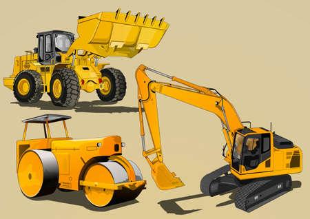 yellow tractor: equipo pesado Vectores