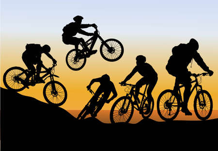 cyclist silhouette:  conquer mountain biking Illustration
