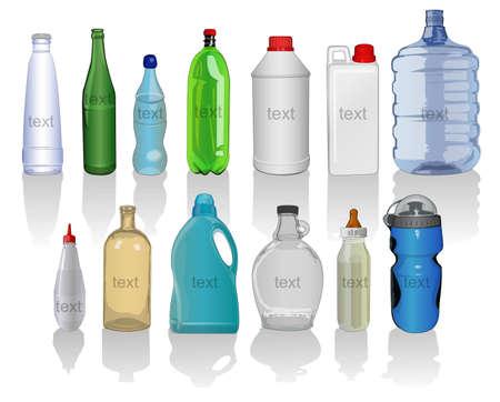 botellas vacias: tipos de botellas Vectores