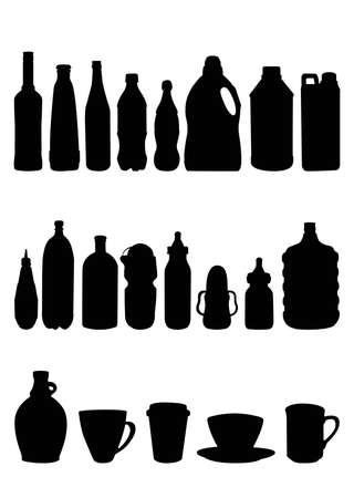 kinds of bottles silhouet Vector