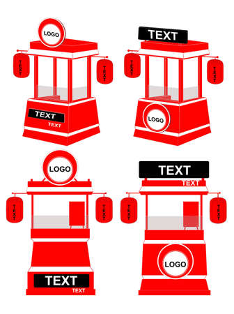 red booth Vector