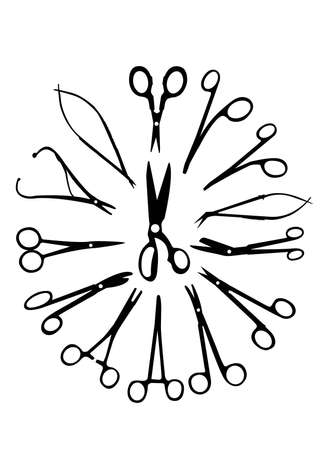 surgical operation:  silhouette of the medical scissors