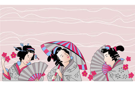 Traditional Japanese woman Vector