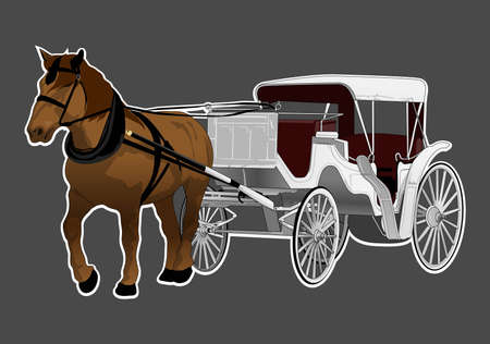 horse carriag Vector