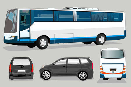 motor coach:  mini bus and bus Illustration