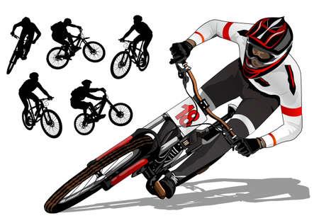 산악 자전거 활성화 일러스트