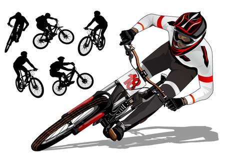 mountainbike actief Stock Illustratie