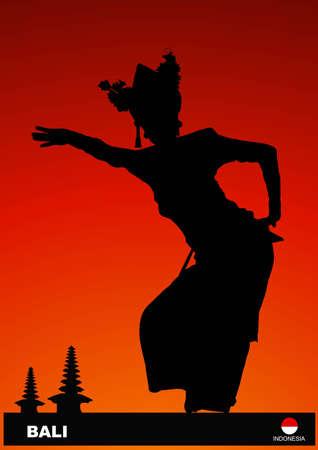 indonesien: Silhouette Tanz aus Bali Illustration