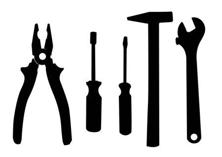 pinzas: silueta de los trabajos herramientas